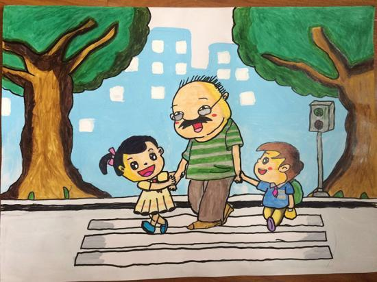 交警首届 文明出行 儿童绘画作品展