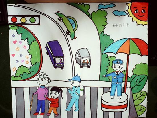 """信举办了首届""""文明出行""""绘画活动.活动得到各幼儿园、学校、以"""