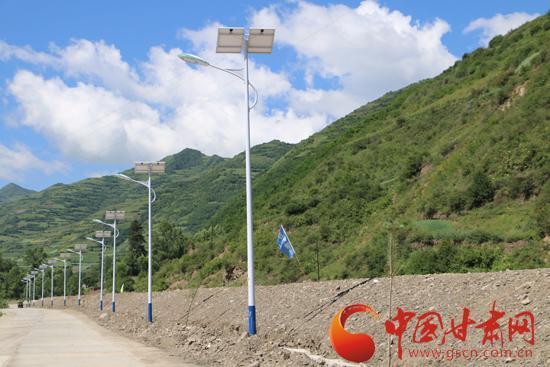 石川乡菜子川村灾后重建集中安置点的太阳能路灯