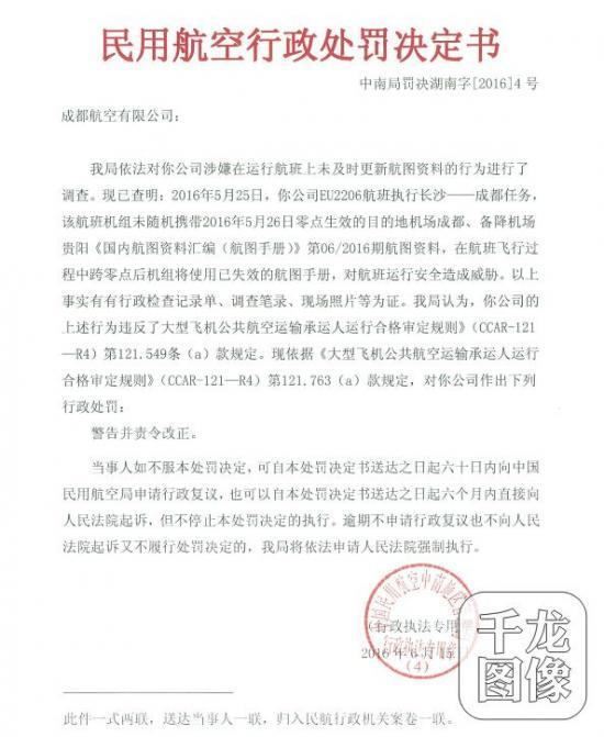 千龙网北京10月9日讯近日,民航总局发布中南局罚决政法字[2016]4号行政处罚书,对成都航空有限公司进行处罚,给予警告并责令整改。  行政处罚书显示,2016年5月25日,成都航空有限公司EU2206航班执行长沙——成都任务,该航班机组未随机携带2016年5月26日零点生效的目的地机场成都、备降机场贵阳《国内航图资料汇编(航图手册)》第06/2016期航图资料,在航班飞行过程中跨零点后机组将使用已失效的航图手册,对航班运行安全造成威胁。 中国民用航空中南地区管理局认为,成都航空有
