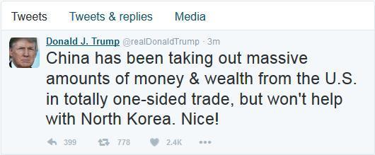 特朗普发推称中国赚我们钱还不帮忙 不会让朝鲜攻击美本土