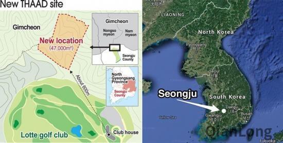 """示意图:据韩联社2016年11月11日报道,韩国军方与乐天集团已经同意,前者用首尔附近的京畿道南杨州市一块国有土地换取后者拥有的星州郡高尔夫球场,作为""""萨德""""营地。这套反导系统原定部署在星州郡星山炮台,受到当地民众坚决抵制,迫使韩国政府放弃原方案,最终选择星州高尔夫球场。星州高尔夫球场估计价值达1000亿韩元(约合8500万美元)。如果韩国政府采取购买方式,需要由国会审批。鉴于在野党阵营对部署""""萨德""""持反对立场,而且国会眼下处于""""朝小野大&rd"""