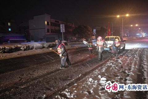 靖江公路站連夜奮戰破冰除雪保安暢