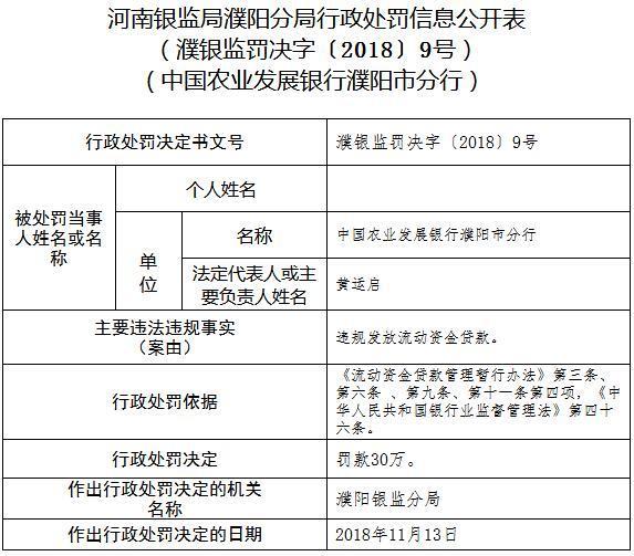 农业发展银行濮阳被罚30万:违法发放流动资金贷款