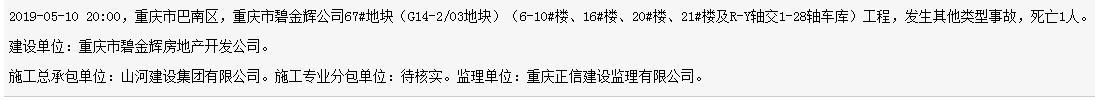 山河建设集团有限公司重庆市碧金辉公司工程地发生事故 死亡1人