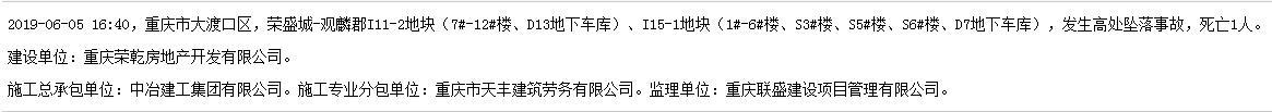 中冶建工集团有限公司重庆荣盛城-观麟郡项目发生事故 死亡1人